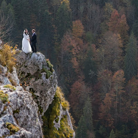 on top by Chirobocea Nicu - Wedding Other ( mountains, girl, wedding, couple, bride, landscape, portrait )