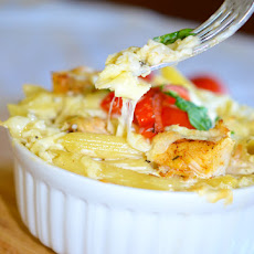 Baked Penne Pasta with Chicken Alfredo Sauce
