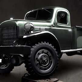 by Jared Samuelson - Transportation Automobiles ( old, lighting, truck, vintage, vehicle, wagon, off, power, dodge, road, antique )