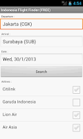 Screenshot of Indonesia Flight Finder