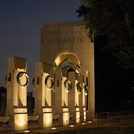 WW II at night by Tara Tarvin - Buildings & Architecture Statues & Monuments ( dc, wwi memorial, wordl war ii memorial, washington dc, nightscape )