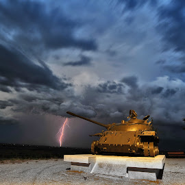 The warriors wrath by Davor Strenja - City,  Street & Park  Street Scenes ( clouds, warrior, lightning, sky, blue, croatia, tank, war )