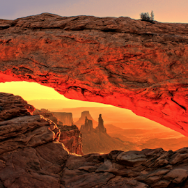 Mesa Arch Sunrise by Roxie Crouch - Landscapes Caves & Formations ( red, utah, canyonlands, red rock, sunrise, mesa arch )
