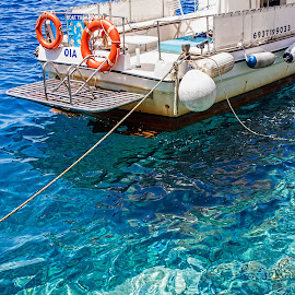 at anchor  by Vibeke Friis - Transportation Boats ( clear water, boat )