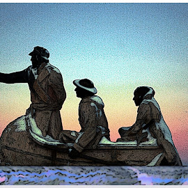 Thompson and his Buddies by Joerg Schlagheck - Digital Art Places ( water, explorer, canoe., thompson, lac la biche, lake )