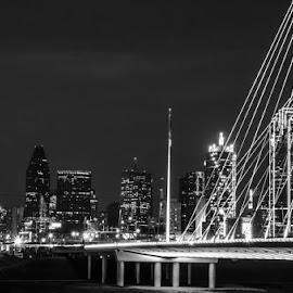 Dallas at Night by Michele Dan - City,  Street & Park  Skylines ( skyline, dallas, texas, bridge, nightscape )