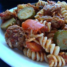 Quick and Hearty Sausage, Chicken and Tomato Pasta