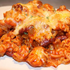 Mexi Ground Beef Chili Macaroni Casserole