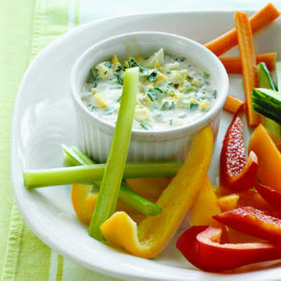 Herbed Yogurt Dip with Eggs and Scallions