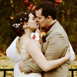 kiss by Kallie Snyder - Wedding Bride & Groom ( love, kiss, wedding, fall, beautiful, marriage,  )