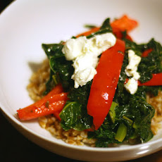 Farro With Sweet Red Bell Peppers, Kale, and Goat Cheese