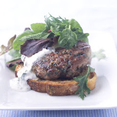 Open-Face Lamb Burgers with Mint Yogurt Sauce