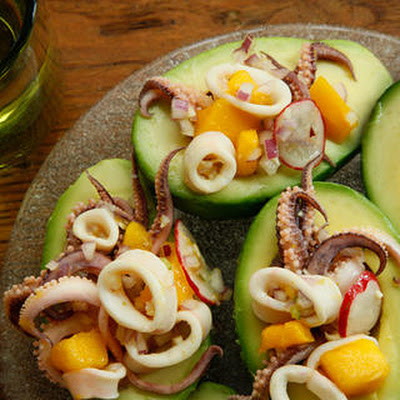 Curried Calamari Ceviche with Mango and Avocado