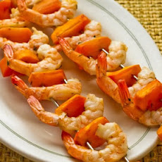 Garlic and Rosemary Roasted Shrimp Skewers with Fuyu Persimmon (or other fruit or veggies)