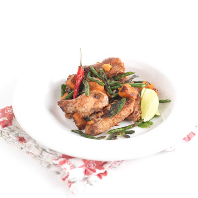 Roasted Chicken Wings with Chinese Long Beans & Sweet Potato