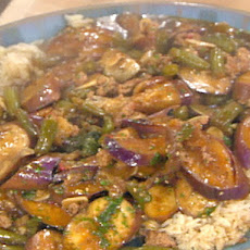 Eggplant and Green Beans in Spicy Garlic Sauce
