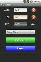 Screenshot of Fault Current Calculator Free