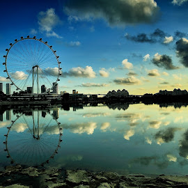 the Flyer by Ina Herliana Koswara - City,  Street & Park  Skylines ( flyer, reflections, morning, skies, singapore )