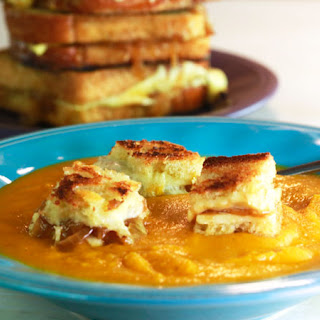 Roasted Vegetable and Tomato Soup with Grilled Cheese and Caramelized Onion Croutons