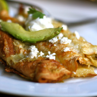 Chile Verde Chicken Enchiladas