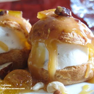 Nougat Glacé Choux with Orange Caramel