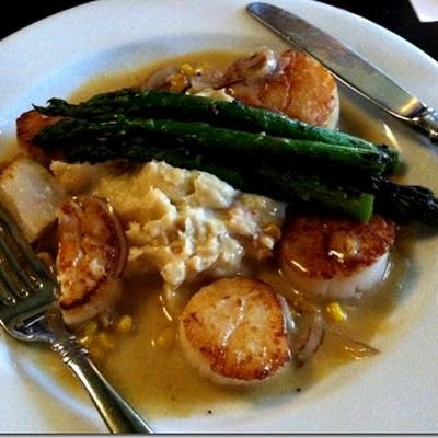 Seared Sea Scallops with lobster-sweet corn mashed potatoes and red onion-sweet corn butter sauce for her…
