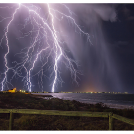 Australian Super Strikes by Steve Brooks - News & Events Weather & Storms ( canon, staff favourites, clouds, lightning, news, weather, beach, storms, media, rain, mandurah )