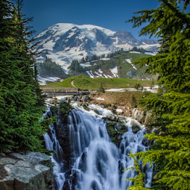 Myrtle Falls by Benjamin Coy - Landscapes Mountains & Hills ( water, mountain, alpine meadow, green, waterfall, rainier, sky, snow, mt. rainier, long exposure, bridge, slow shutter, nd filter )