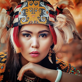 Dayak Girl,  by Ayahnya Cakrabuwana - People Portraits of Women