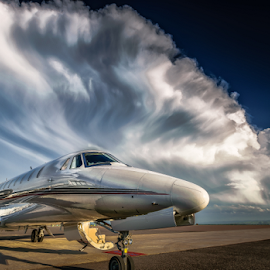 Stormy skies by Richard Depinay - Transportation Airplanes ( sovereign, thunder, clouds, airport, citation, sky, cumulonimbus, 680, storm, skies )