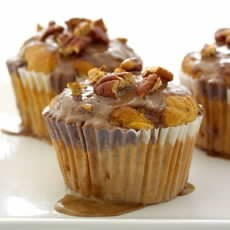 Fresh Apricot and Pecan Muffins with Cinnamon Icing