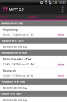 Screenshot of TimeTables - Inholland (MATT2)
