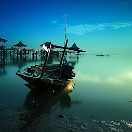 the Boat by Ina Herliana Koswara - Transportation Boats ( water, waterscape, long exposure, beach, sunrise, boat )