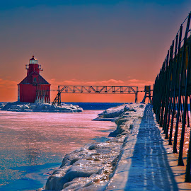 On the way home! by John Kehoe - Landscapes Weather ( wisconsin, michigan, sturgeon, lake michigan, bay, sunset, ice, snow, lighthouse, lake,  )