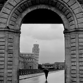Pisa leaning forward by Boris Jakesevic - Black & White Buildings & Architecture ( tuscany, toscana, leaning tower, pisa, architecture, travel )
