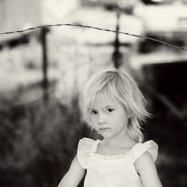 by Cara Waterson - Babies & Children Child Portraits ( farm, girl child, blonde, black and white, white dress )