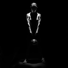 GIrl Power by Christopher Mazzoli - Sports & Fitness Fitness ( wod, girl, black and white, kettle bell, woman, sport, box, crossfit )