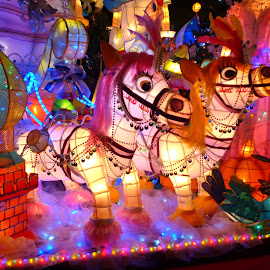 White horses by Natalie Spark - Artistic Objects Other Objects ( colorful lanterns, lights and colors, horse lantern sculptures, taiwan lantern festival, lanterns )