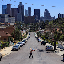 Free by Nicolas Delvalle - Sports & Fitness Skateboarding ( skateboarding, freedom, los angeles, landscape, city )