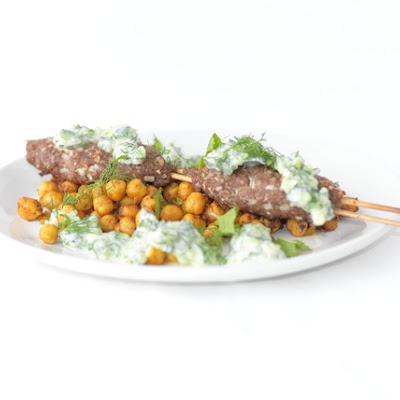 Lamb Kofte Kebabs, Sautéed Chickpeas and Cucumber Yogurt Sauce