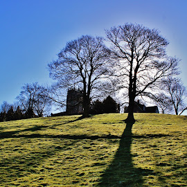 Shadows by Brian Laughton - Landscapes Prairies, Meadows & Fields ( england., holme-on-spalding-moor, east yorkshire, whitwell-on-the-hill, all saints church )