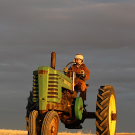 2-cylinder memories by Kimberly Mehrer - Transportation Other ( old, sunset, road, antique, boy, tractor )