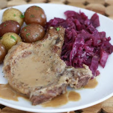 Skillet Pork Chops and Braised Red Cabbage