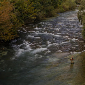 Fly fishing in a beautiful river! by Jože Borišek - Landscapes Waterscapes ( ljubno ob savinji (slovenia) )
