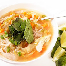 Spicy Chicken Noodle Soup with Lime and Ginger