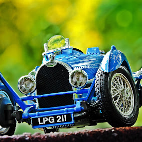 Bugatti Type 35 by Christian Tiboldi - Artistic Objects Toys ( car, up close, old, automobile, oldie, bugatti, object, close up, macro, toy, blue, stacking, auto, focus, type 35, stack,  )