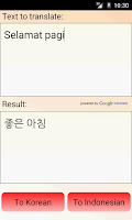 Screenshot of Indonesian Korean Translator
