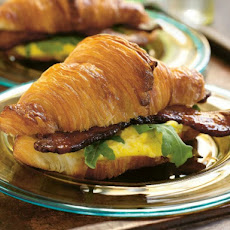 Suvir Saran's Warm Egg Salad on Croissants with Country Bacon and Arugula