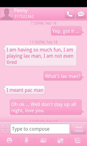 Pink GO SMS Theme