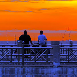 Sunset Fishing  by Alan Chew - People Street & Candids